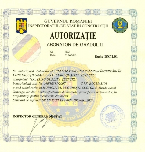 Autorizație Laborator Euro Quality Test
